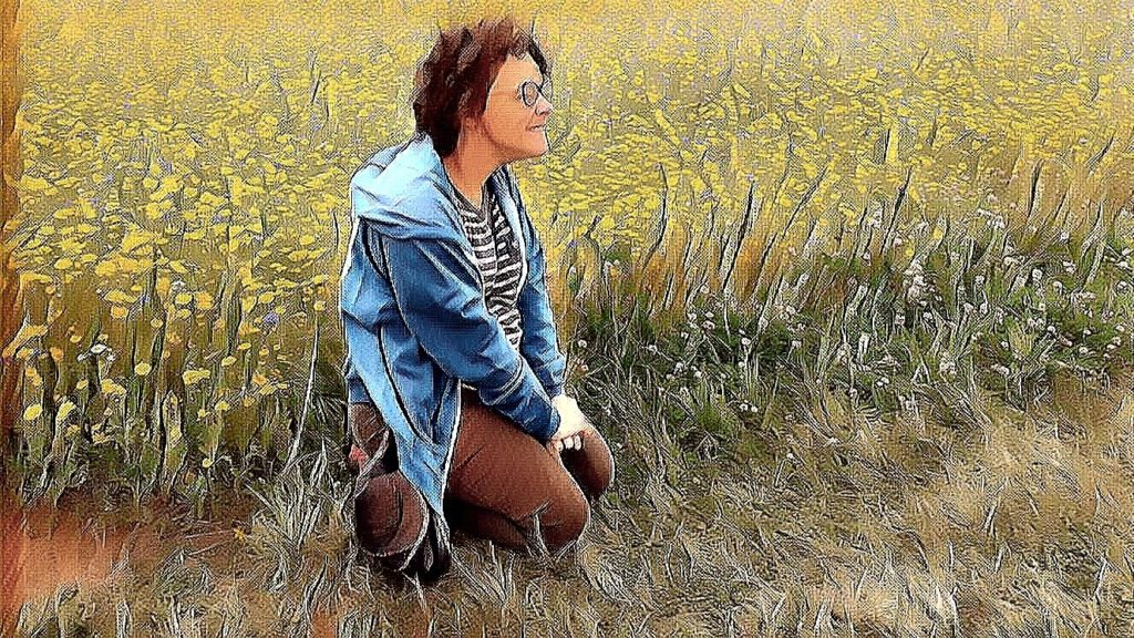 Ceri sitting in flowers - artistic filter