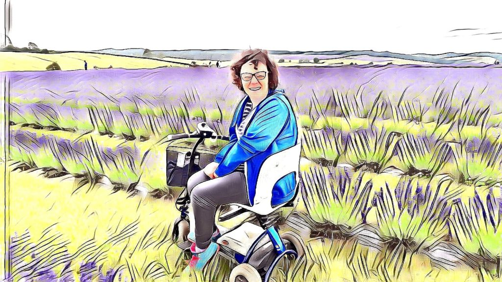 Ceri sitting on scooter in lavendar fields - artistic filter