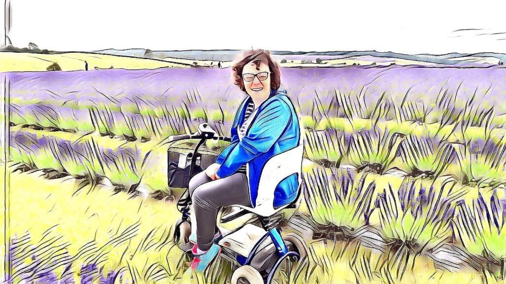 Ceri sitting on scooter in lavendar fields - artistic filter